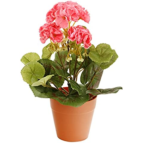 Closer To Nature HBC008PE - Geranio zonal artificial, 24 cm, color rosado