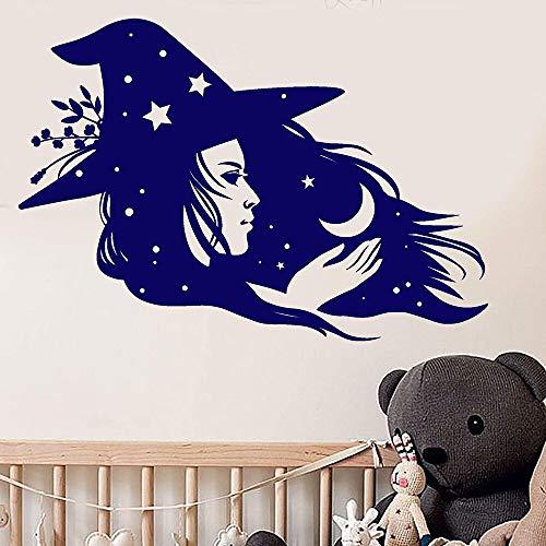 yiyitop Magische Hexe Zauberin Crescent Stars Vinyl Wandaufkleber Aufkleber Wohnkultur Schlafzimmer DIY Kunst Wandbild Wand 57 * 83 cm -