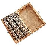 Timbro in legno con lettere dell'alfabeto e numeri, in stile vintage, per bambini, fai da te, diari, biglietti, timbri