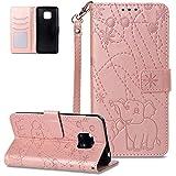 FNBK - Funda para Huawei Mate 20 Pro, color oro rosa, diseño de elefante, funda de piel, tipo libro, soporte, tarjetero, oro rojo