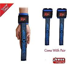 2Fit Muñequeras acolchadas para levantamiento de pesas, incluye cintas de agarre para las pesas y cintas de ajuste, unisex, ideal para entrenamiento físico, mujer hombre, blue & black