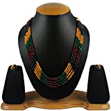 #10: Aradhya Five Layer Multi-Colour Real Onyx Stone Beads Necklace with Earrings for Women and Girls