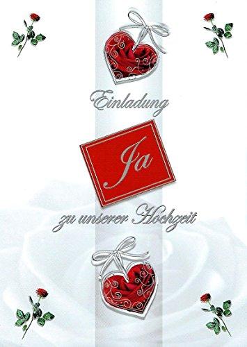 Einladungskarten Hochzeit mit Innentext Motiv Rose Herzen 10 Klappkarten DIN A6 im Hochformat mit weißen Umschlägen im Set Hochzeitseinladung vom Brautpaar Vintage Einladung Hochzeit Retro K139