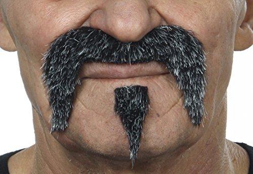 ende Fälscher Schnurrbart Neuheit The Zappa Falsch Gesichtsbehaarung Kostümzubehör für Erwachsene Salz und Pfeffer Farbe ()