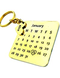 Smart Galleria Birthday Gift Personalized Calendar Key Chain with Name and D.O.B on Metal