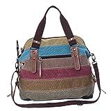 Longzjhd Damen Multi-Color-Striped Canvas Damen Handtasche/Umhängetasche Canvas Tasche Shopper Hobo Bag,Mehrfarbig Canvas Schultertasche Hobo Bag 42cm(L)*34cm(H)*16cm(W) (Mehrfarbig)