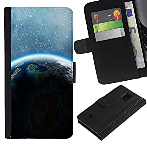 Be Good Phone Accessory // Flip Schutz Etui Leder Brieftasche Hülle Kartenhalter für Samsung Galaxy S5 Mini, SM-G800, NOT S5 REGULAR! // Earth Stars Sunshine Blue Alien Planet