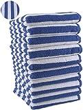 10er Pack Gästehandtücher Gästetuch STREIFEN 100% Baumwolle Farbe Royal Blau Größe 30x50 cm