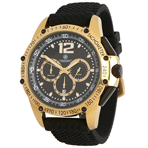 Constantin Durmont Men's Watch Tribute Chronograph Quartz Rubber CD Trib QZ RB gdgd BK