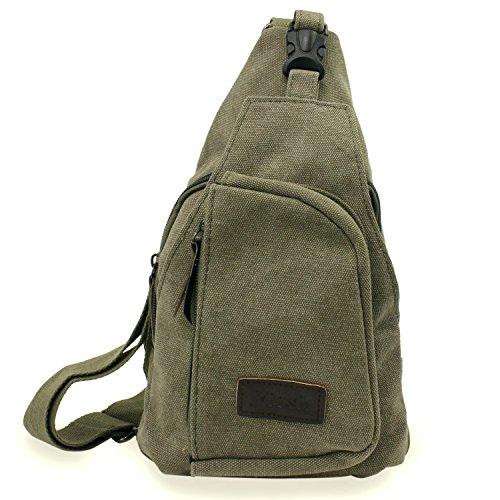 PsmGoods® Uomini Canvas Shoulder Bag di svago di corsa della tasca Escursionismo Zaino Petto Pouch Sling Nero Green Large