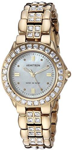 Armitron Women's 75/3689MPGP Swarovski Crystal Accented Gold-Tone Bracelet Watch