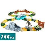 Circuito Coches Pista Carrera Flexible Pista Coches Juguetes 144pcs con Dinosaurios Juguetes Jurassic Dino World Tren Juguete para Infantiles Niñas Niños 3 4 5 Años