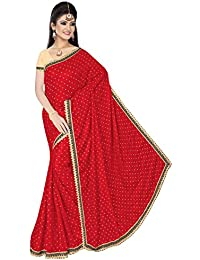 Onlinehub Women's Georgette Saree With Blouse Piece(Red ,Free Size)