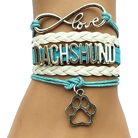 Cuero Infinito Amor del Dachshund pata del perro de la pulsera de los Animales del perrito del encanto del abrigo de regalo de la pulsera
