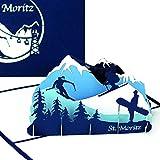 Carte de vœux St. Moritz–3d Carte de souvenir, carte d'anniversaire, voyage bons & Carte d'invitation pour ski Vacances au lithium–Carte Pop Up de ski & snowboard
