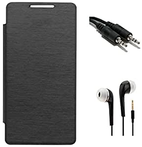 Tidel Black Durable Premium Flip Cover Case For Micromax Canvas Pep Q371 With 3.5mm Jack Handsfree Earphone & Aux Cable