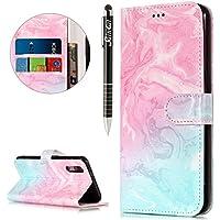 Huawei P20 Hülle,Huawei P20 Ledertasche Handyhülle Brieftasche im BookStyle,SainCat Retro 3D Muster Marmor PU... preisvergleich bei billige-tabletten.eu