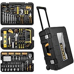 DEKO Boîte à Outils 258pièces Coffret à Outils Set à Outils Poignée Télescopique,Boîte à Outils Roulant