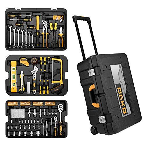 DEKO 258-teiliges Werkzeug Set Mit Rollendem Werkzeugkasten,Werkzeugkoffer Werkzeug-Trolley Werkzeugkasten