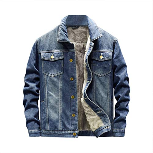 Herren Jeansjacke mit Fell Basic Stretch Jeans Jacke,Stehkragen Übergangsjacke Freizeitjacke Slim Fit Winter Warm Bomberjacke Steppjacke