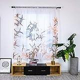ZYY-Home curtain bambù Impianto Tenda Trasparente Voile Stampato Tenda Finestra Tasca Stelo Antracite per Finestre e Balconi Tende 2 Pezzo,W135xL200cm