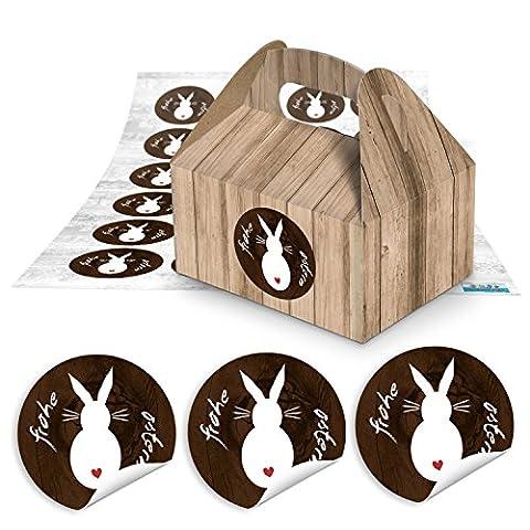 24Petites boîtes cadeau emballage Marron imitation bois (9x 12x 6cm sans poignée) + 24Autocollants Joyeux Pâques Lapin Marron Blanc (1817ronde) Ø 4cm l'Alternative à la de Pâques ou panier de Pâques