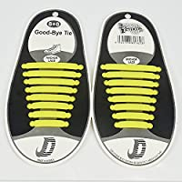 No Tie Shoe Laces Elastic Silicone shoelaces for Kids and Adults shoes Waterproof Easy Pull and Lock Laces (Yellow)