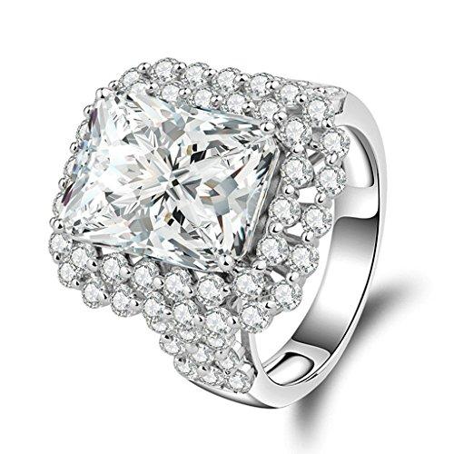 Aienid Damen Ring Silber 925 Versprechen Anpassbare Ring Polster Cut CZ Geburtstag Geschenk Size:62 (19.7) (Schwarz, Polster-nägel)