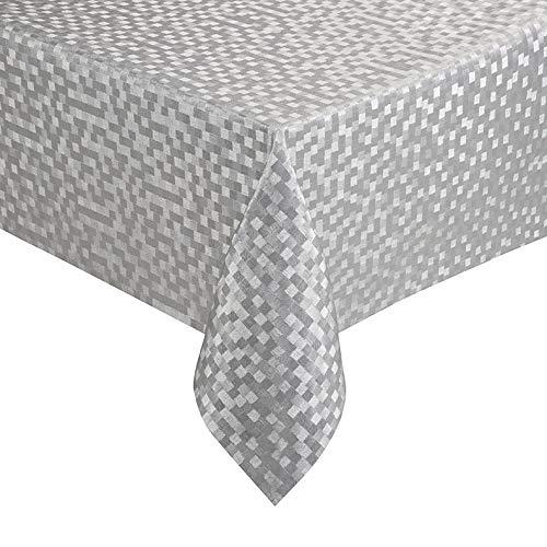 Polyline Tischdecke 1mm dick Hochwertig und sanfter Fall Dijon Silber Breite & Länge wählbar 110 x 210 cm Eckig abwaschbar -