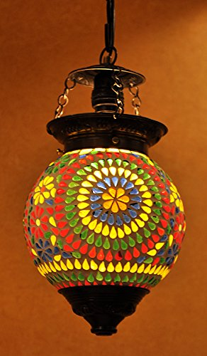 Ethnic Home Decorative Handmade Glass Hanging Lamp Pendant Ceiling Hanging Light 33 x 15 Cm