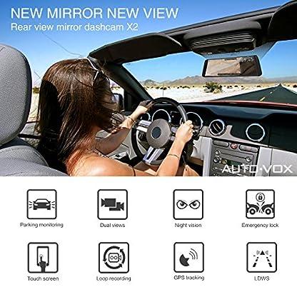 AUTO-VOX-X2-Streaming-Dashcam-mit-988-Zoll25-cm-LCD-Touchscreen-Full-HD-1296P-Autokamera-Vorne-und-Hinten-140-Weitwinkel-IP68-Wasserdichte-Rckfahrkamera-mit-Nachtsicht