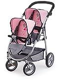 Bayer Design 2650800 - Zwillingspuppenwagen für Puppen, 46 cm, grau/rosa