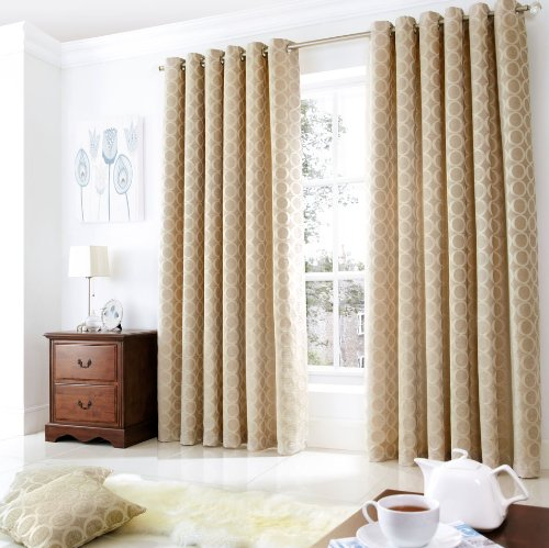 OH Ring Top Chenille Curtains Cream 90