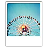 Pickmotion Happy PolaCards: Hochwertige Polaroid Postkarten im Retro Stil - Motiv: Riesenrad