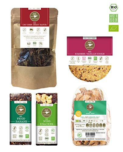 eat Performance® Fitness Box (2 Riegel, 1 Apfelchips, 1 Trockenfleisch, 1x Cookie) - Bio, Paleo, Glutenfrei Aus 100% Natürlichen Zutaten