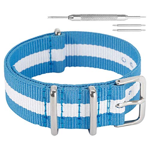 Autulet 12mm Nylon UhrenarmbandHerren Licht Blau/Weiß/Licht Blau -