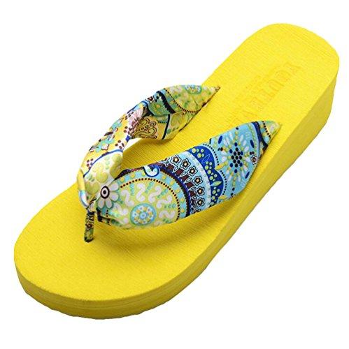 Yiiquan Donna Sandali Bohemia Zeppa Infradito Scarpe da spiaggia Pantofole Giallo #2