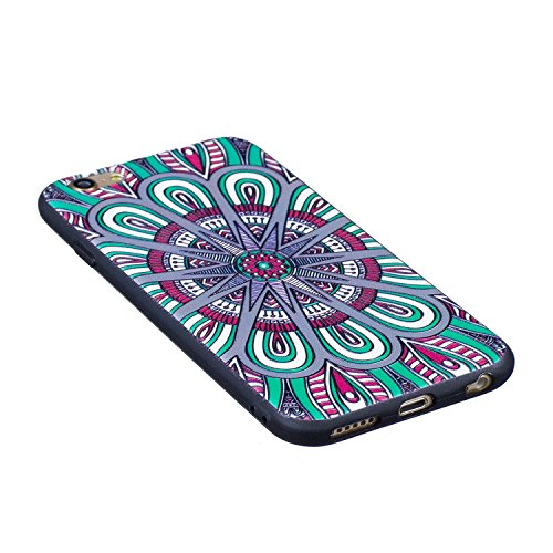 Coque iPhone 6 6S, Cozy Hut ® Très Légère iPhone 6 6S Pure Black Ultra-Fine Housse Etui anti chocs Back Cover Bumper Case Anti Scratch Shock Absorption Bumper, iPhone 6 6S Anti dérapant Noir Souple TP Mandala
