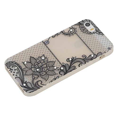 Apple iPhone SE/5S/5 Case Silicone - Felfy Ultrathin Slim Soft Gel Mode Silicone Lichtdurchlässig TPU Peinture Rose Motif Fleur de Diamant de Bling Glitter étincelle Strass Cristal Creative design écl #24