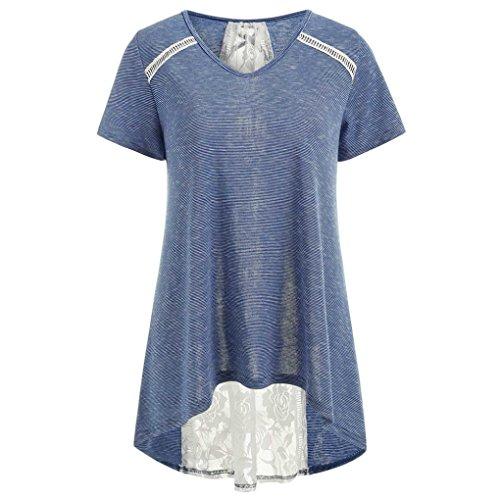 MRULIC Sommer T-Shirt Special Gestreifte Spitze zurück Bandage verschönert Hem Tops(Blau,EU-40/CN-M) (Verschönert Spitze)