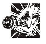 HCCY Muscolo palestra fitness training center su istruzione privata studio club per decorare le pareti sticker living room bedroom personalità parete in PVC carta 60*55cm, carbonio