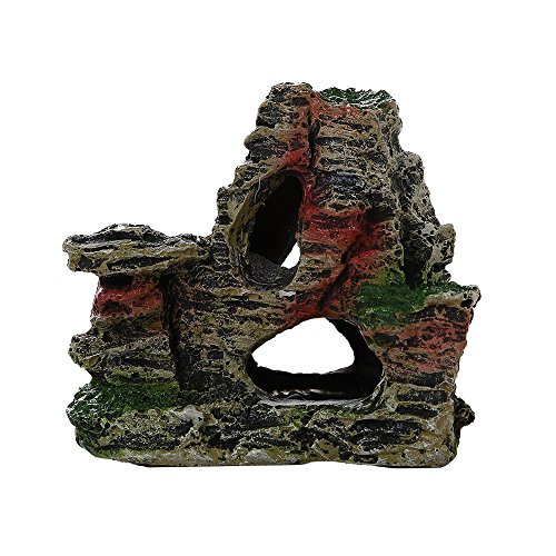 BOBOLover Mountain View Acuario de Roca Escondite Cueva árbol de Peces Ornamento del Tanque Decoración,B