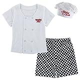 Mombebe Disfraz Bebé Niños Halloween Cocinero Conjunto de Ropa con Sombrero Manga Corta (Cocinero 2, 18-24 Meses)