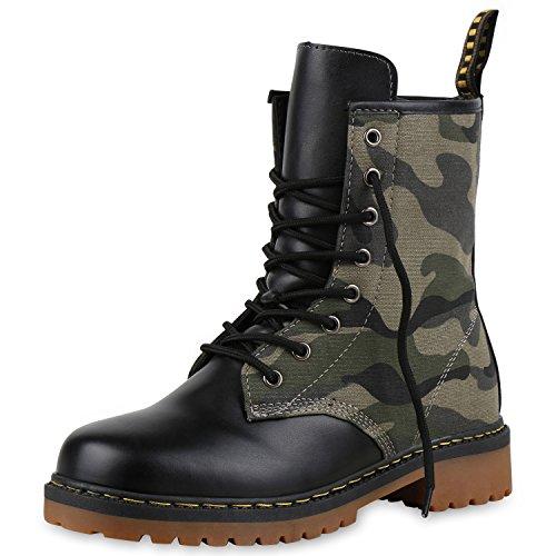 SCARPE VITA Geschnürte Damen Worker Boots Profil Sohle Stiefel Stiefeletten 160484 Camouflage Grün 39