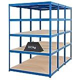 Mega Deal | Set aus 3x Schwerlastregal (Tiefe 60 cm) | Fachlast 265 kg pro Fachboden | Metallregal Kellerregal Lagerregal Werkstattregal Garagenregal |Belastbar mit 1325 kg
