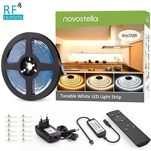 Novostella Dimmbar 6m LED Streifen Set 720 LEDs mit Netzteil RF Fernbedienung, 2835 SMD LED Lichtband 3 Modi 10 Helligkeit 3000K Warmweiß 6000K Kaltweiß einfache Bedienung 12V für Innenbeleuchtung