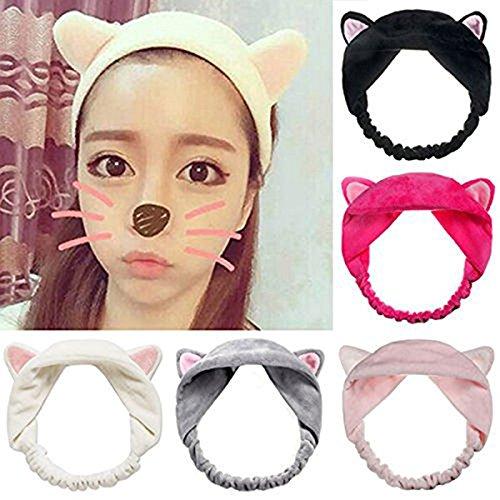 Frcolor 5pcs Katze Ohr machen Gesicht waschen Spa Dusche Maske Haarband Make-up kosmetische Stirnband (Katze Ohr Haar Clips)