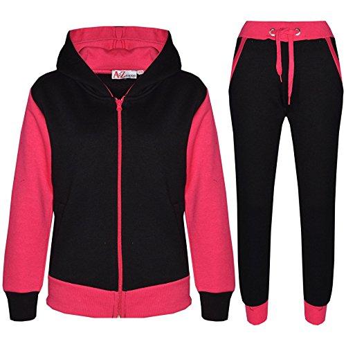 A2Z 4 Kids® Kinder Trainingsanzug Mädchen Jungen Designer Plain Kontrast - T.S Plain 101 Pink 2-3 -