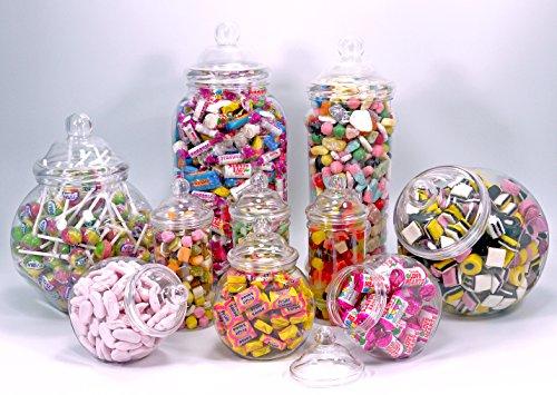 Party-Pack von 10ausgewählten, leeren, klaren Kunststoffbehältern mit dekorativem Bommel-Schraubverschluss im viktorianischen Stil von Britten & James®. Pet-Kunststoffin Lebensmittelqualität –perfekter Aufbewahrungsbehälter für Süßigkeiten, Kekse, Nahrungsergänzungen, Haustierleckerlis, Hundekekse, Nudeln, Reis, Linsen, getrocknete Früchte, Eingelegtes, Marinieren, Geschenke, Spielzeug, zum zur Schau stellen, Pfennige und Münzen. Ideal für Partys, Geburtstage, Hochzeiten, Valentinstag, Weihnachten, Ostern, Halloween, Muttertag, Vatertag, Großmutter und Großvater. (Keine Süßigkeiten Halloween Leckereien)