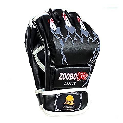 ZOOBOO Half-finger Boxing Gloves with Velcro Wrist Band for MMA